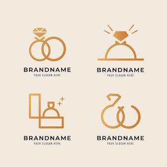 Modelli di logo anello design sfumato creativo