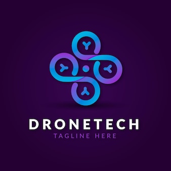 Creative gradient drone logo template