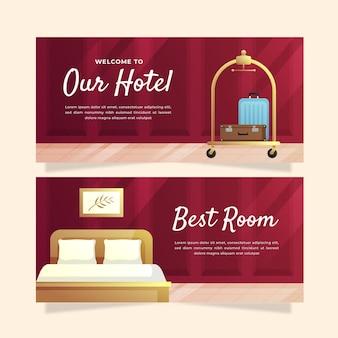 Modello di banner hotel gradiente creativo con foto