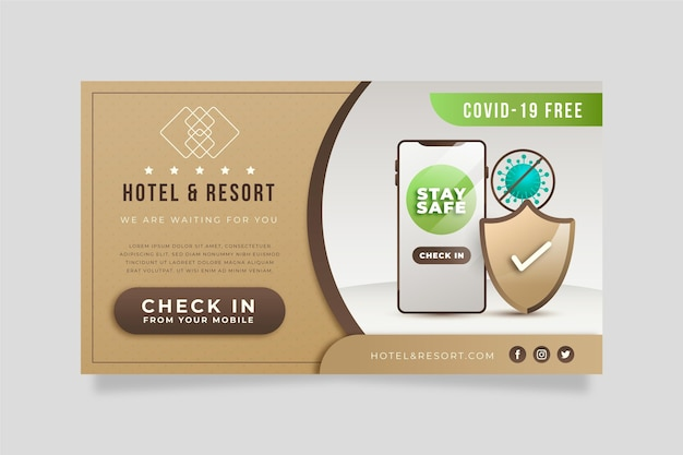 Creative gradient hotel banner template with photo