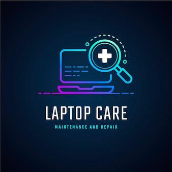 Креативный градиентный шаблон логотипа ноутбука