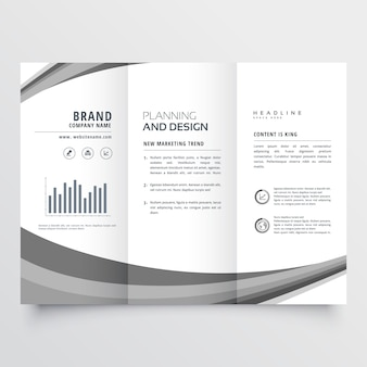 Creative gray wave trifold business brochure