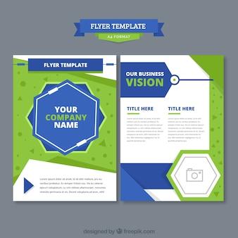 創造的な緑と青のパンフレットのコンセプト