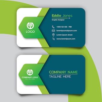 Креативный дизайн шаблона зеленой визитки
