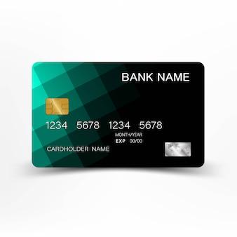 Creative and green credit card.