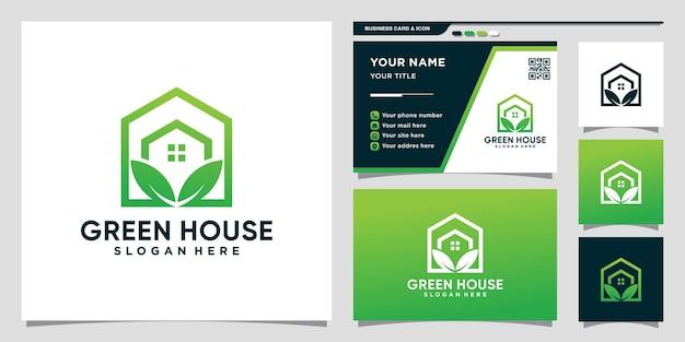 라인 아트 스타일과 명함 디자인이 있는 크리에이 티브 그린 하우스 로고 premium vector