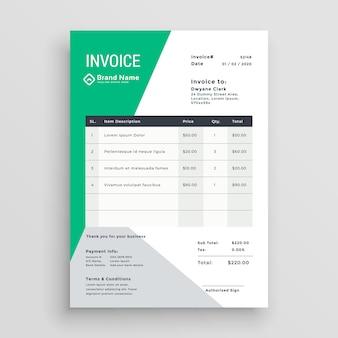 Creative green invoice template design