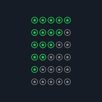 Creative green neon style star rating symbols