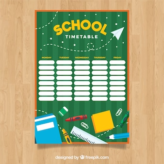 Creative green school timetable