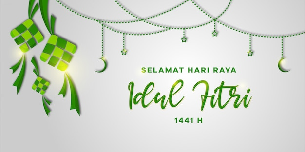 Creative greeting card design with crescent moon and stars of selamat hari raya aidil fitri. eid mubarak greeting card design.