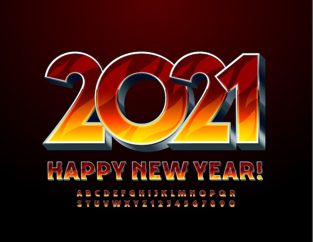 Creative greeting card happy new year 2021! fire pattern and metal font. 3d flaming alphabet letters and numbers set