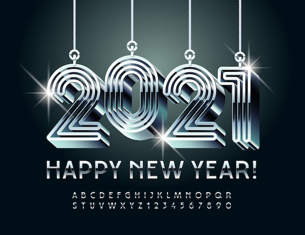 Creative greeting card happy new year with maze toys 2021! glossy silver font. luxury metallic alphabet letters and numbers set