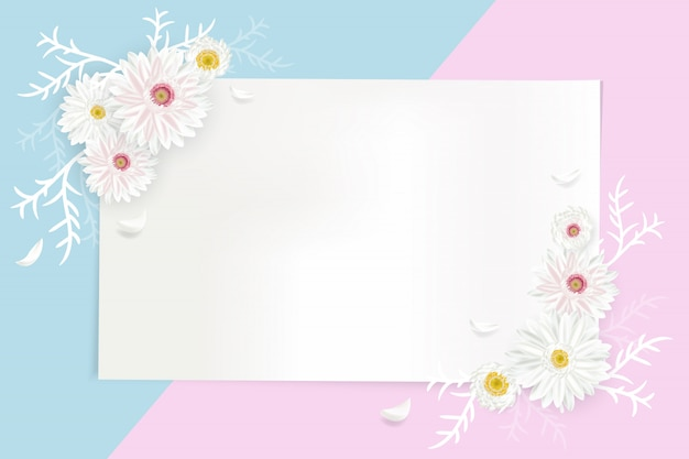 Creative greeting card illustration with geometry shape for text decorated with flowers blooming