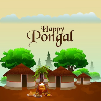 Creative greeting card with sugarcane and religious background for happy pongal