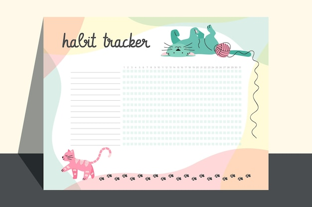 Creative habit tracker template with cats