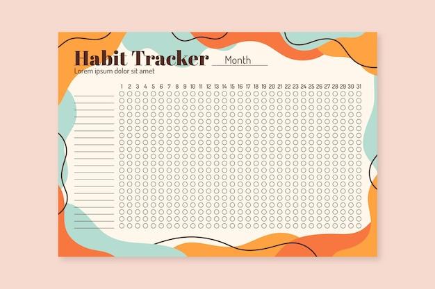 Creative habit tracker template