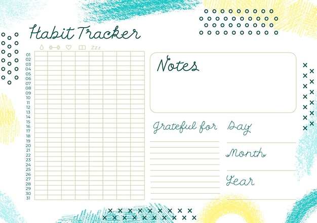 Creative habit tracker template