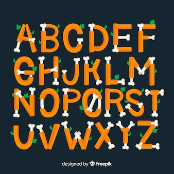 Creative halloween alphabet background