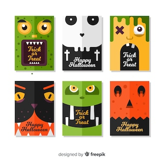 Creative halloween card template collection