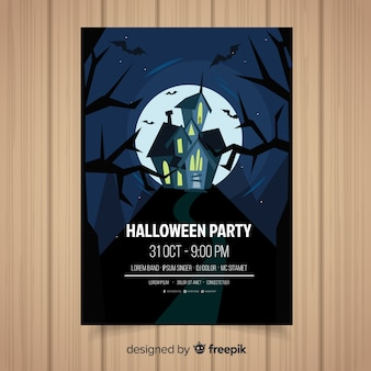 Creative halloween party poster template