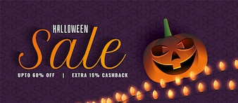 Creative halloween sale banner with pumpkin