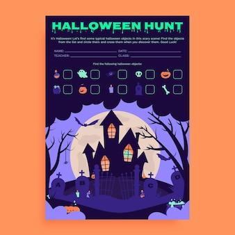 Foglio di lavoro creativo per la caccia al tesoro di halloween