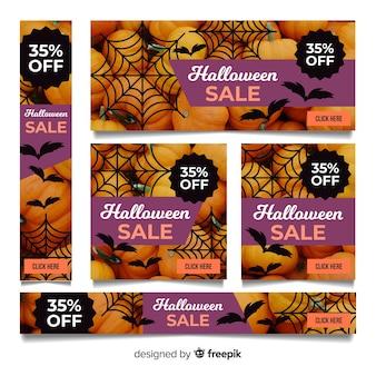 Творческая коллекция баннеров для продажи на хэллоуин