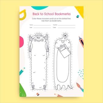 Foglio di lavoro segnalibro creativo disegnato a mano per tornare a scuola