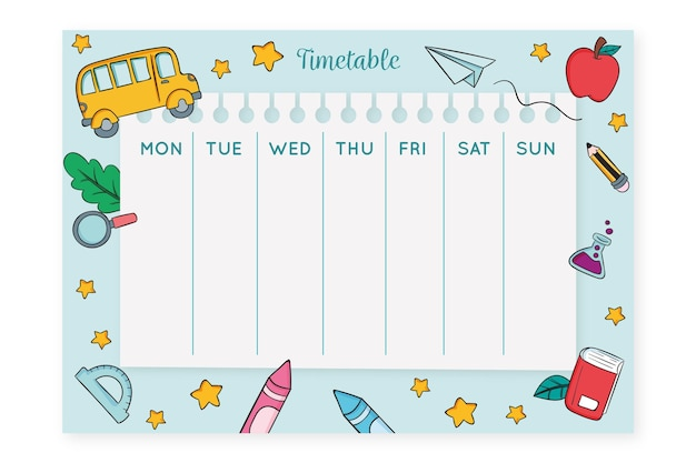 Creative hand drawn back to school timetable