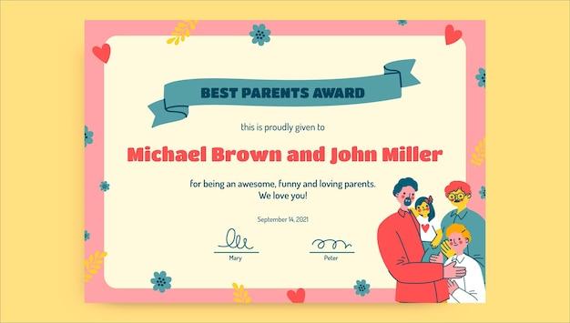 Certificato dei migliori genitori disegnato a mano creativo