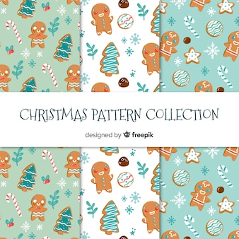 Creative hand drawn christmas pattern collection