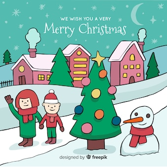 Creative hand drawn christmas town
