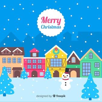 クリエイティブな手描きのクリスマスタウン