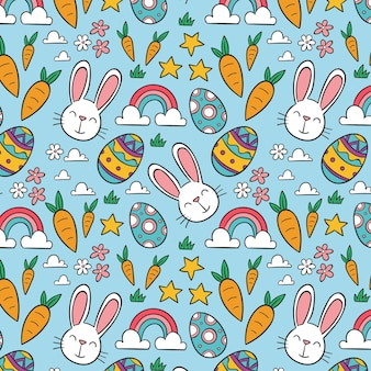 Creative hand drawn easter pattern