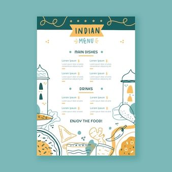 Creative hand drawn indian menu template