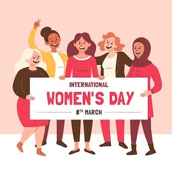 創造的な手描きの国際女性の日が示されています Premiumベクター