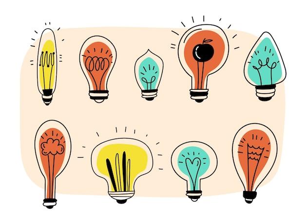 クリエイティブな手描きの電球コレクション