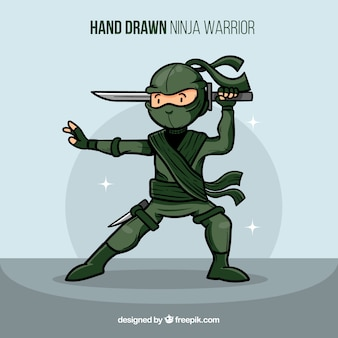Creative hand drawn ninja warrior