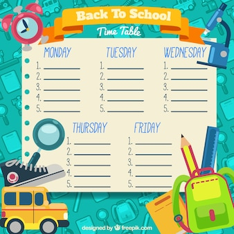 Creative hand drawn school timetable
