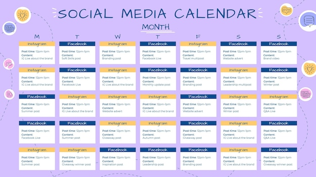 Creative hand drawn social media calendar template