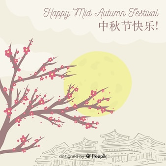 Creative hand drawn style background for mid autumn festival