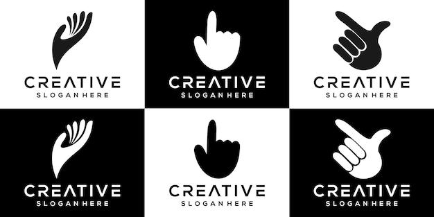 크리에이 티브 손 로고 아이콘 세트 로고 디자인 서식 파일