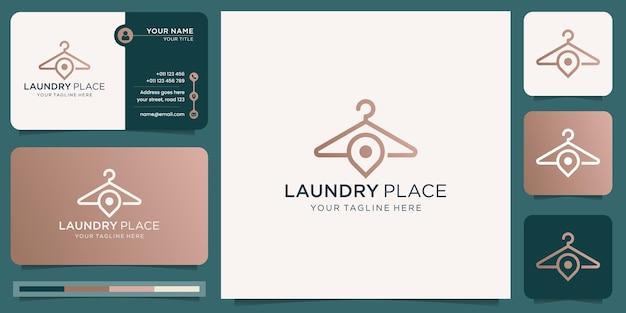 핀 마커 디자인 컨셉이 있는 창의적인 옷걸이 세탁 로고. 로고 및 명함 템플릿입니다.