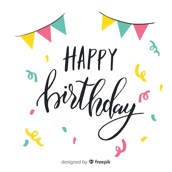Creative happy birthday lettering concept