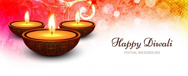 Creative happy diwali celebration banner