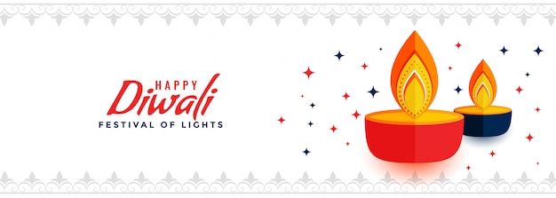 Creative happy diwali festival of lights banner
