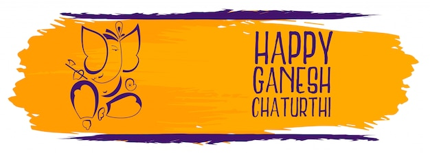 Creative happy ganesh chaturthi festival watercolor banner