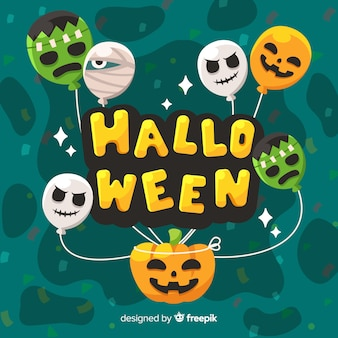 Creative happy halloween background with balloons