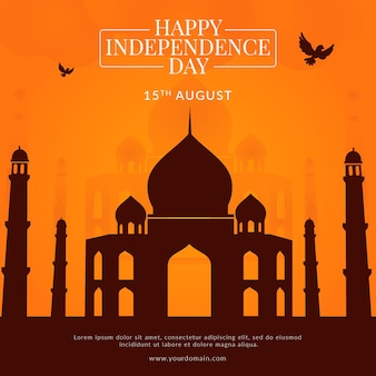 Creative happy indian independence day banner template design