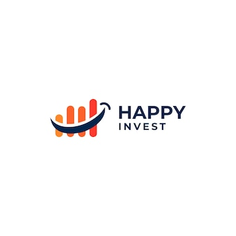 Креативный логотип счастливых инвестиций, топчущий логотип